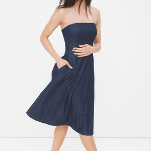 WHBM STRAPLESS DENIM FIT-AND-FLARE DRESS